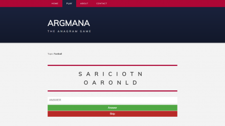Screenshot of Argmana web app