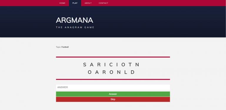 Screenshot of Argmana web app