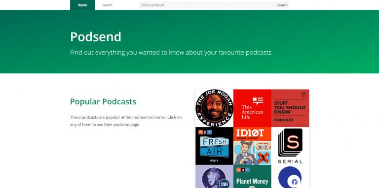 Screenshot of Podsend homepage